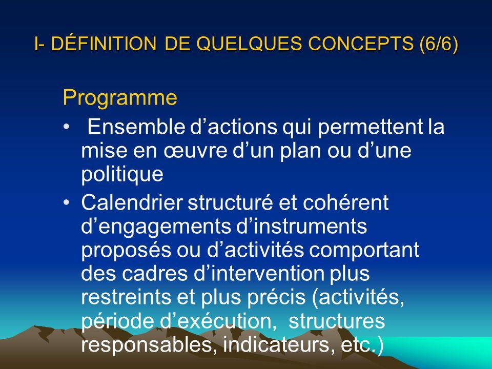 I- DÉFINITION DE QUELQUES CONCEPTS (6/6)