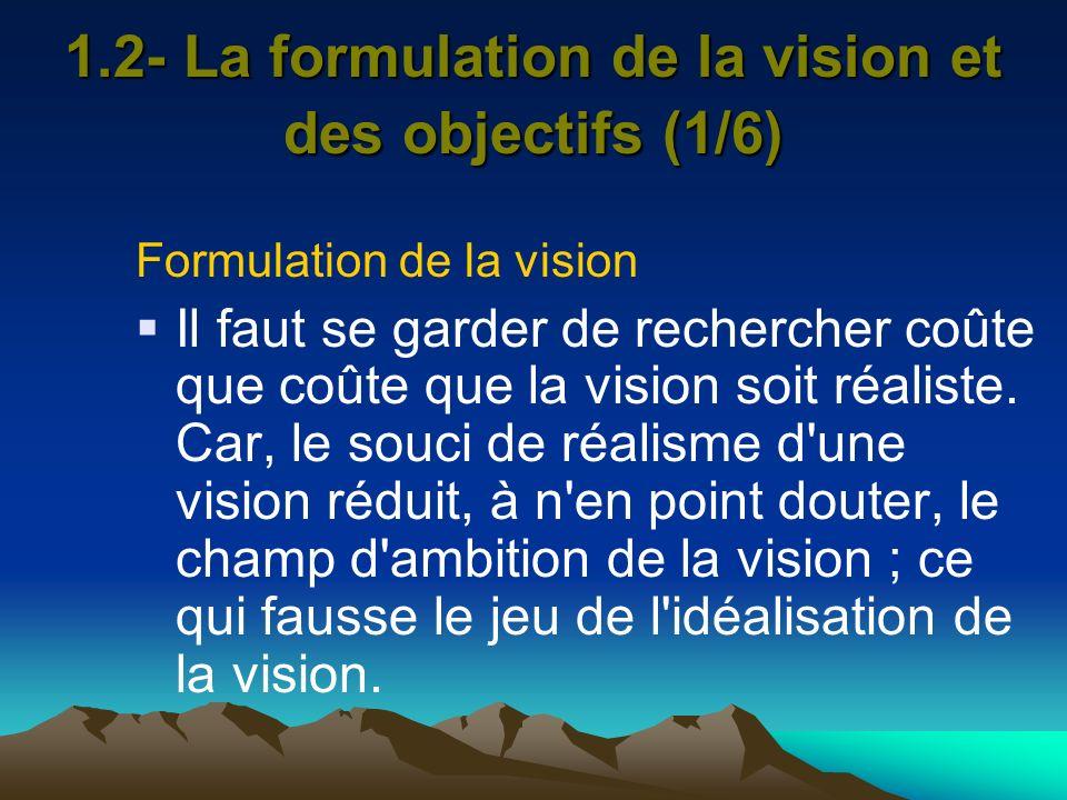 1.2- La formulation de la vision et des objectifs (1/6)