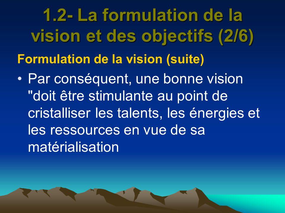1.2- La formulation de la vision et des objectifs (2/6)