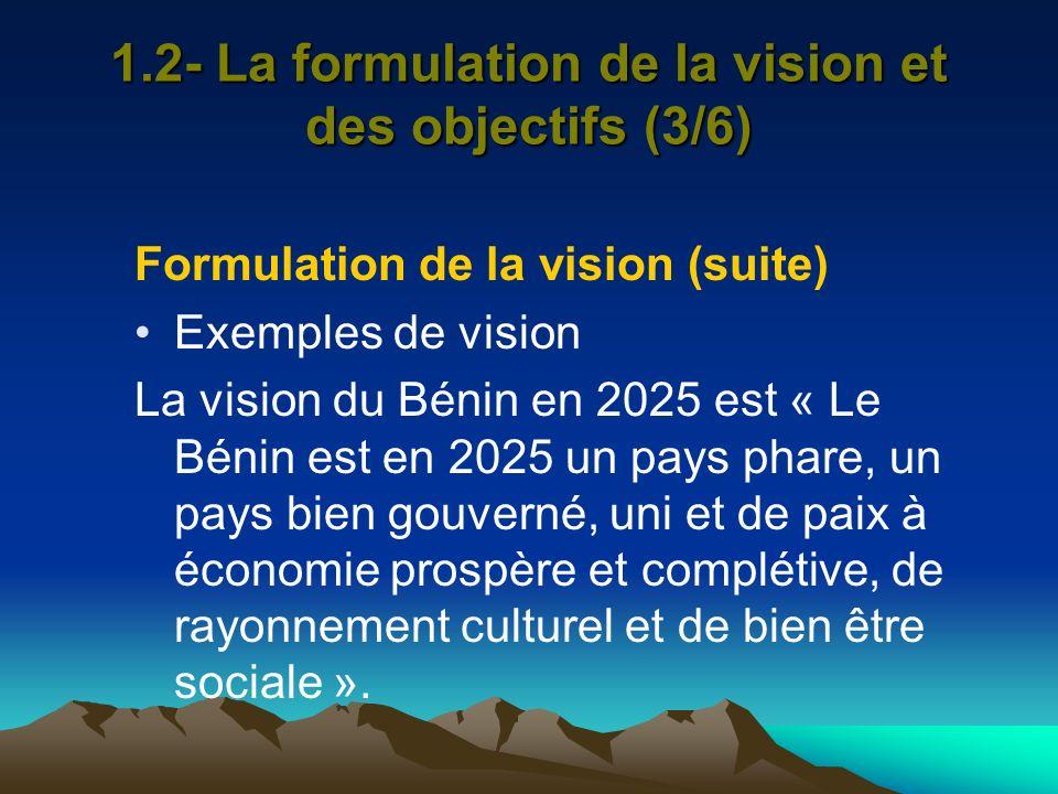 1.2- La formulation de la vision et des objectifs (3/6)