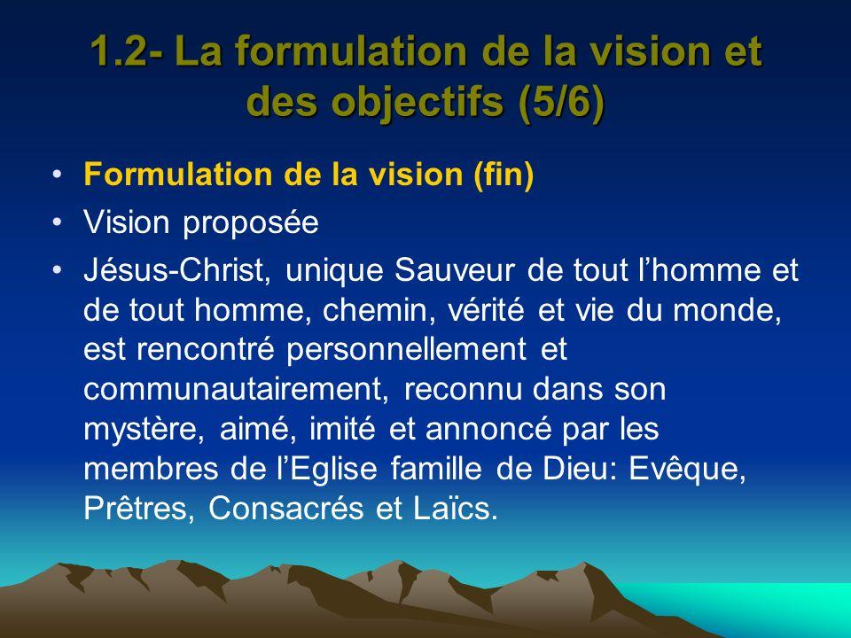 1.2- La formulation de la vision et des objectifs (5/6)