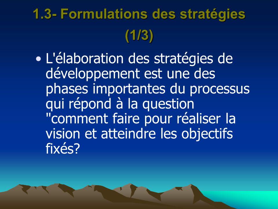 1.3- Formulations des stratégies (1/3)