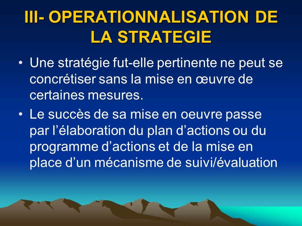 III- OPERATIONNALISATION DE LA STRATEGIE