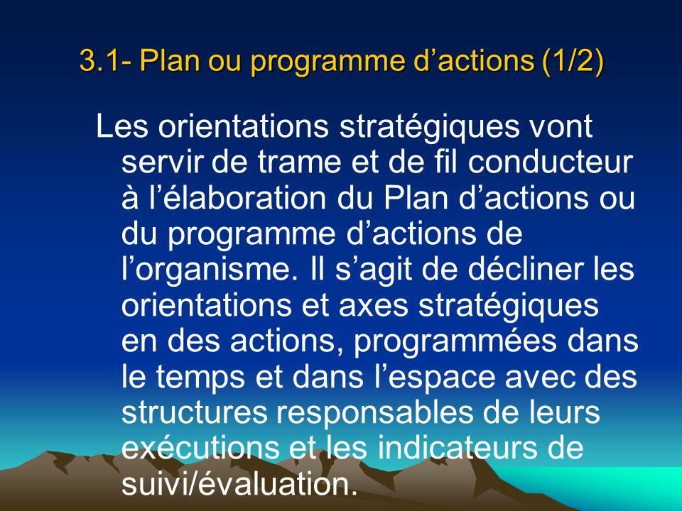 3.1- Plan ou programme d'actions (1/2)