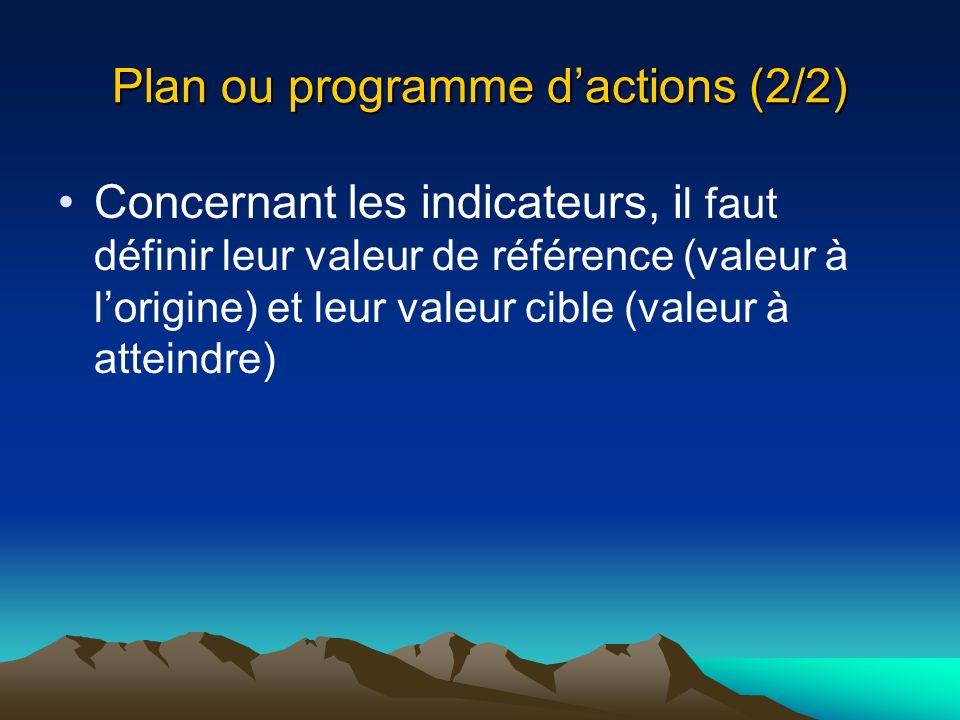 Plan ou programme d'actions (2/2)