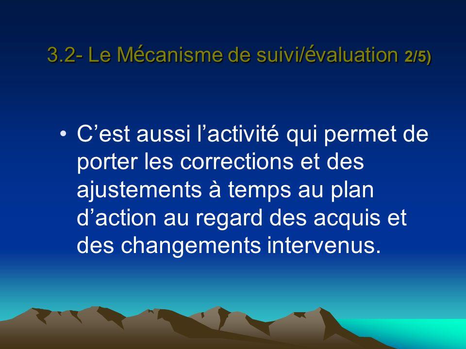 3.2- Le Mécanisme de suivi/évaluation 2/5)