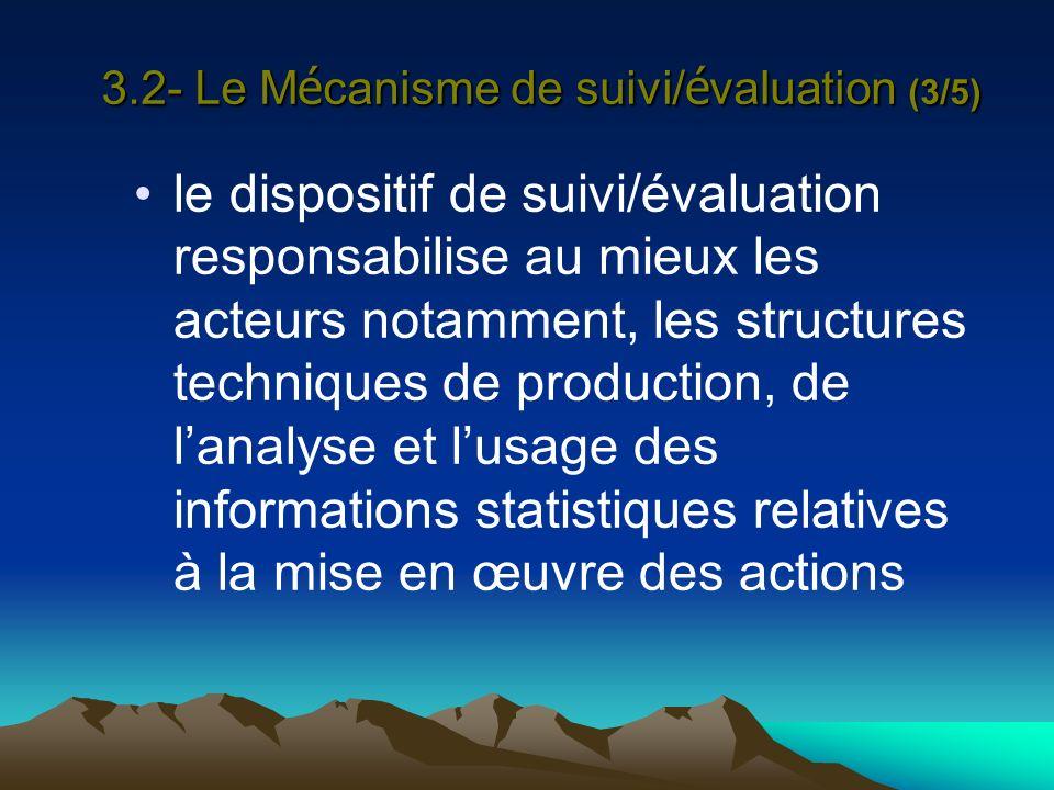 3.2- Le Mécanisme de suivi/évaluation (3/5)