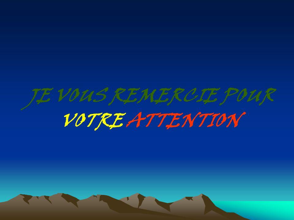 JE VOUS REMERCIE POUR VOTRE ATTENTION