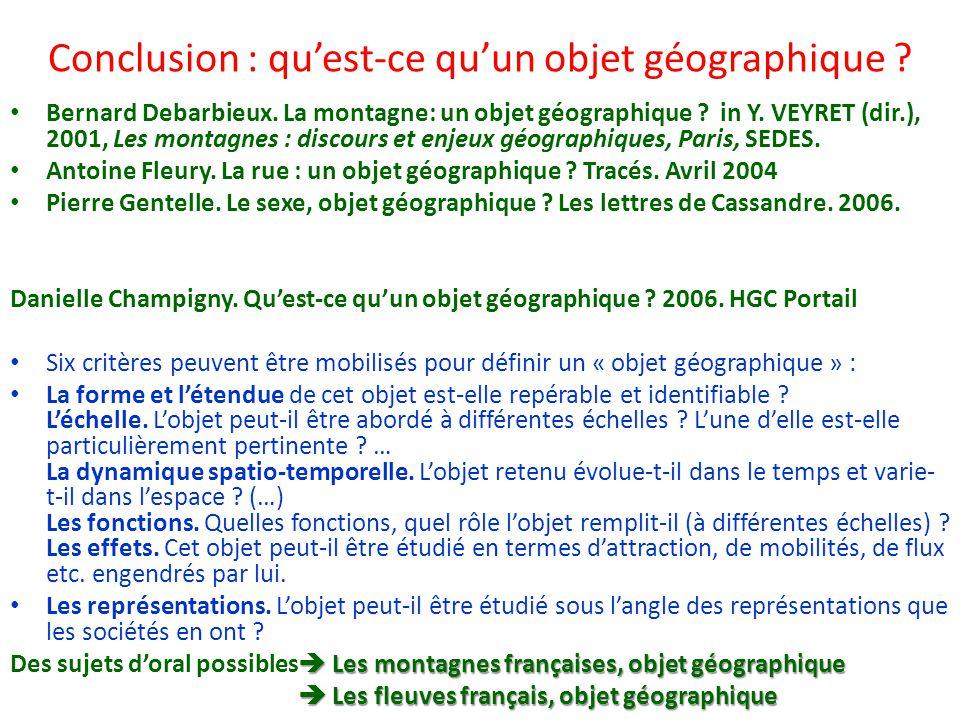 Conclusion : qu'est-ce qu'un objet géographique