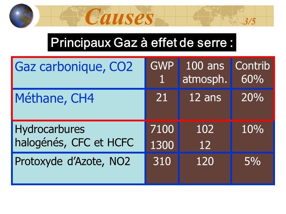 Causes 3/5 Gaz carbonique, CO2 Principaux Gaz à effet de serre :