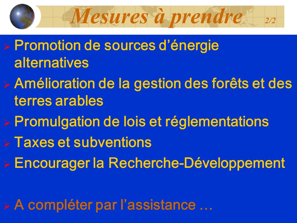 Mesures à prendre 2/2 Promotion de sources d'énergie alternatives