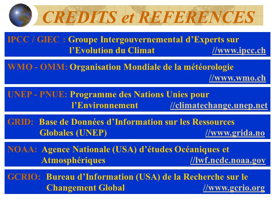 CREDITS et REFERENCES IPCC / GIEC : Groupe Intergouvernemental d'Experts sur l'Evolution du Climat //www.ipcc.ch.