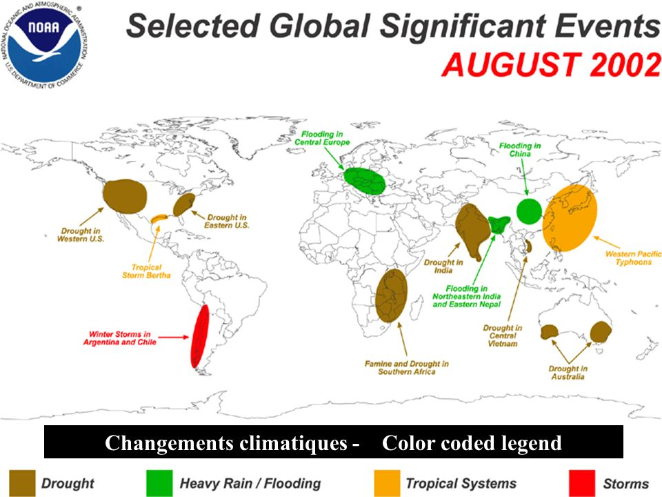Changements climatiques - Color coded legend