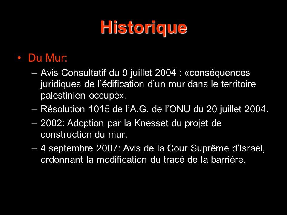 Historique Du Mur: Avis Consultatif du 9 juillet 2004 : «conséquences juridiques de l'édification d'un mur dans le territoire palestinien occupé».