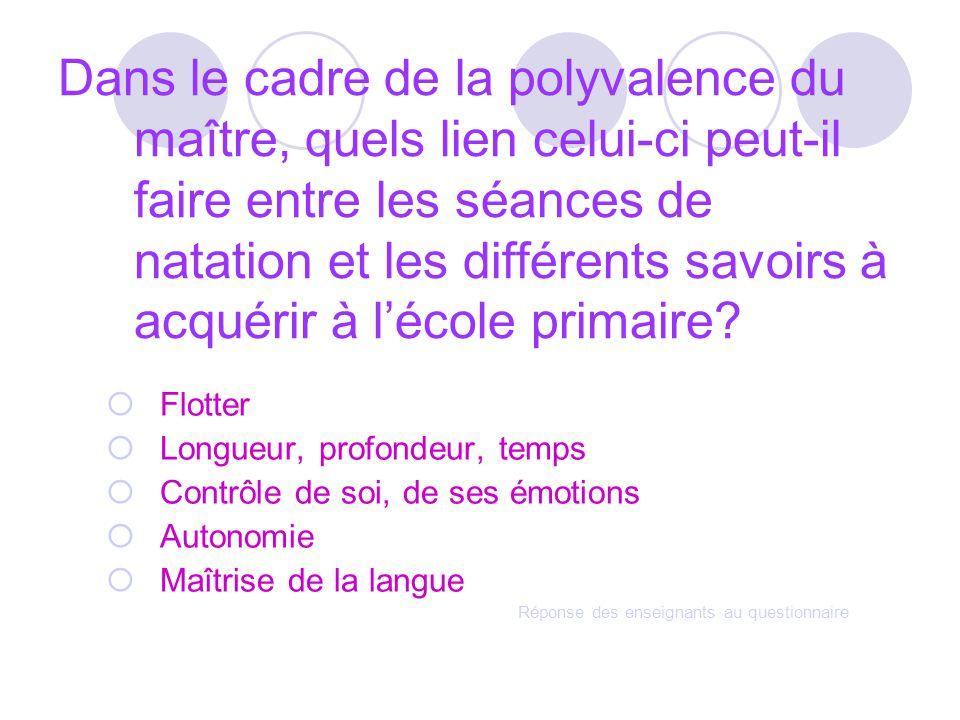 Dans le cadre de la polyvalence du maître, quels lien celui-ci peut-il faire entre les séances de natation et les différents savoirs à acquérir à l'école primaire