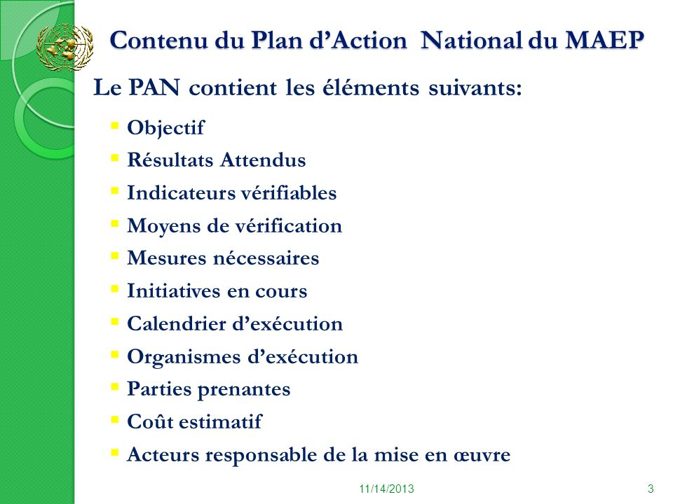Contenu du Plan d'Action National du MAEP