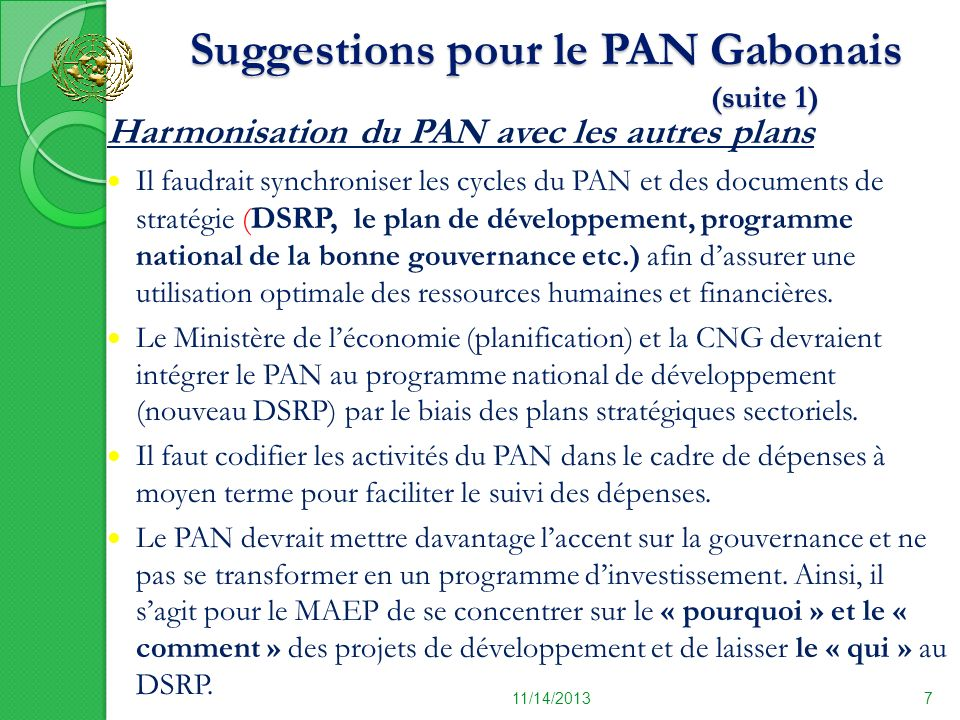 Suggestions pour le PAN Gabonais (suite 1)