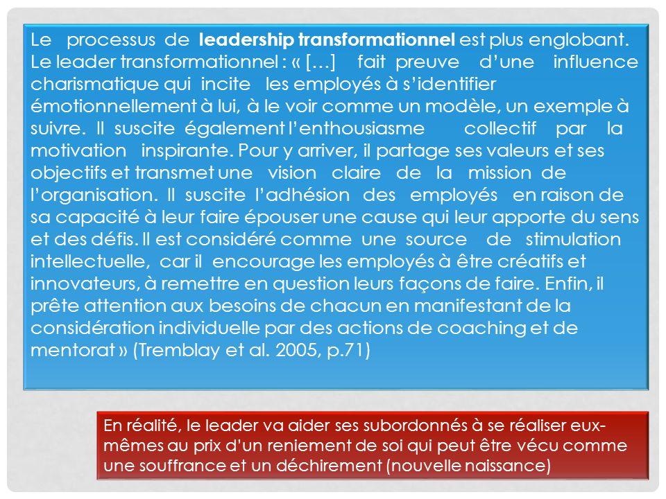 Le processus de leadership transformationnel est plus englobant
