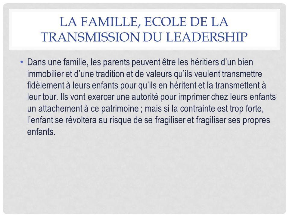 La famille, ecole de la transmission du leadership