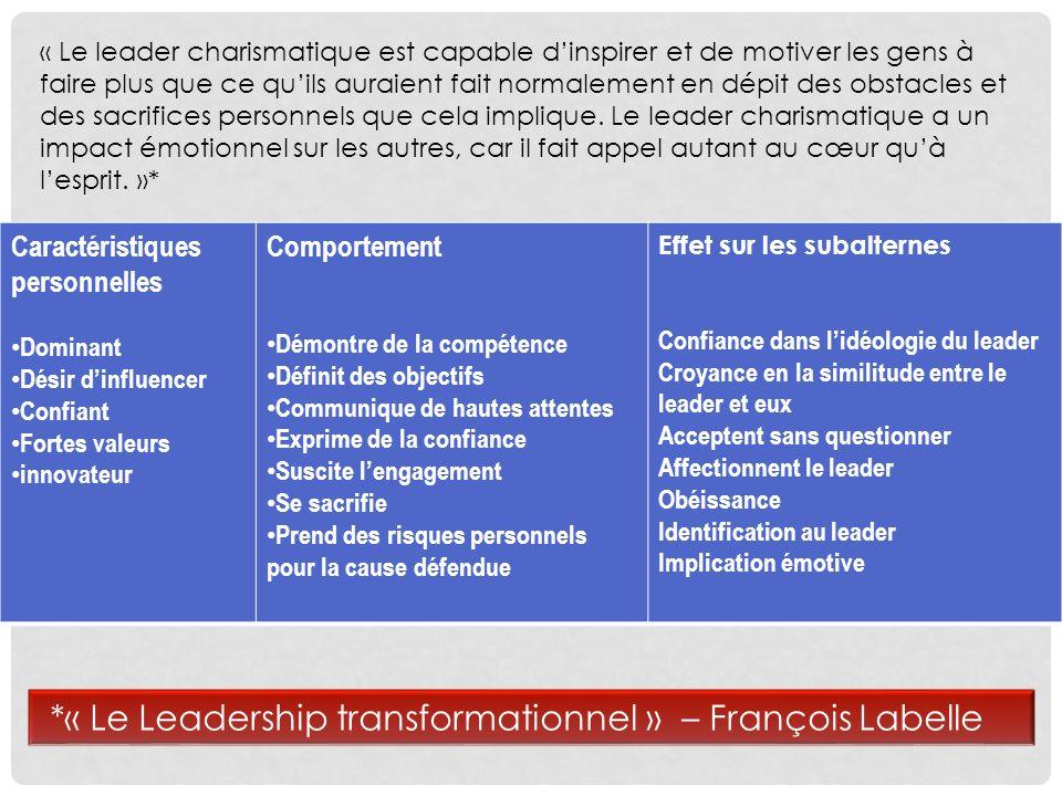 *« Le Leadership transformationnel » – François Labelle