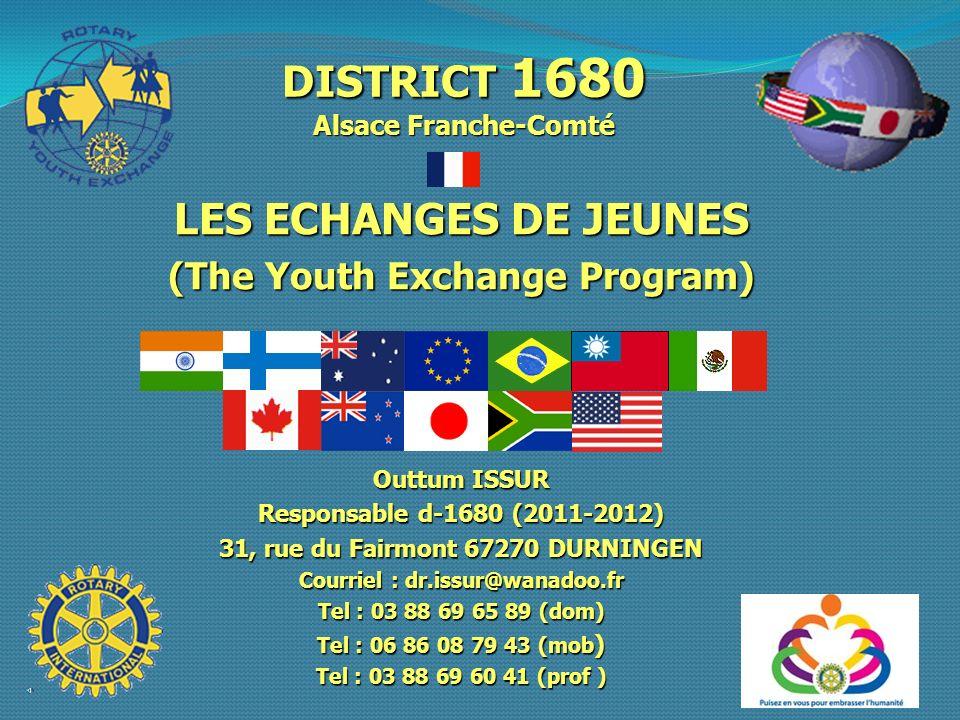 DISTRICT 1680 Alsace Franche-Comté LES ECHANGES DE JEUNES
