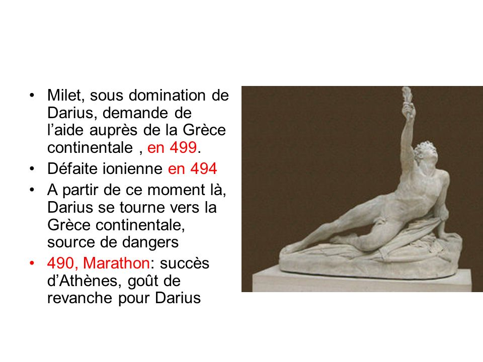 Milet, sous domination de Darius, demande de l'aide auprès de la Grèce continentale , en 499.