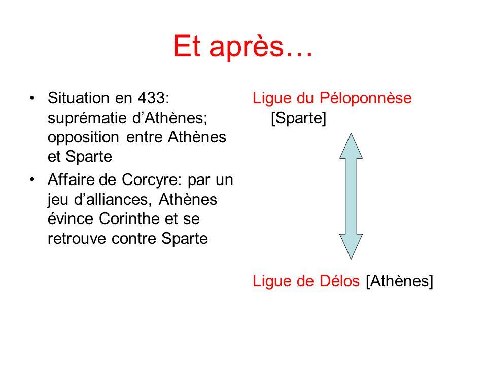 Et après… Situation en 433: suprématie d'Athènes; opposition entre Athènes et Sparte.