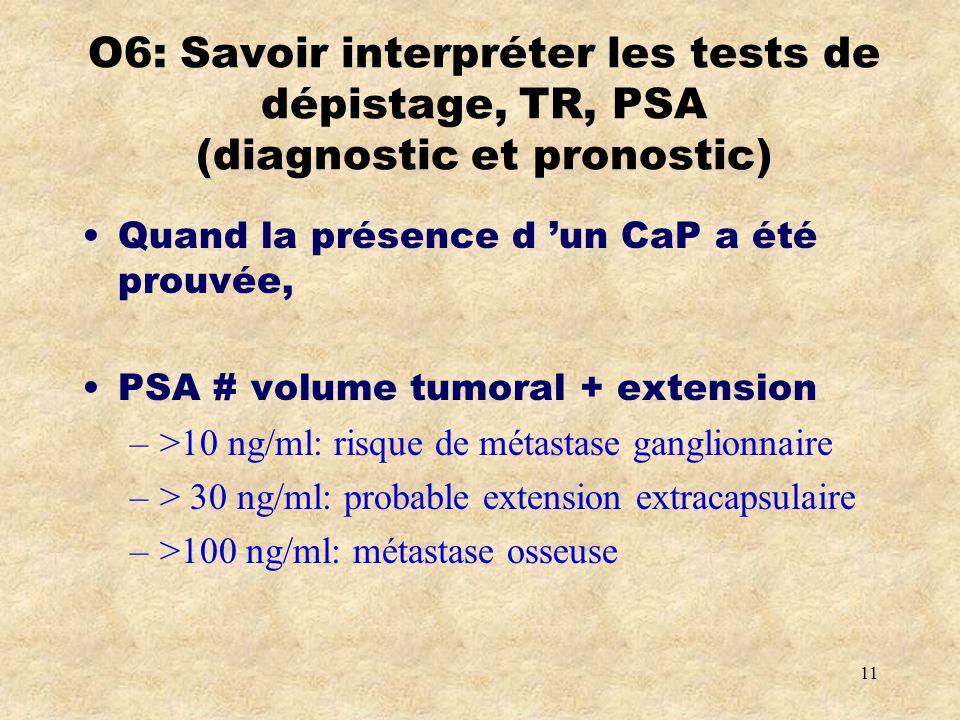 O6: Savoir interpréter les tests de dépistage, TR, PSA (diagnostic et pronostic)