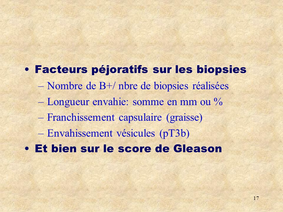 Facteurs péjoratifs sur les biopsies
