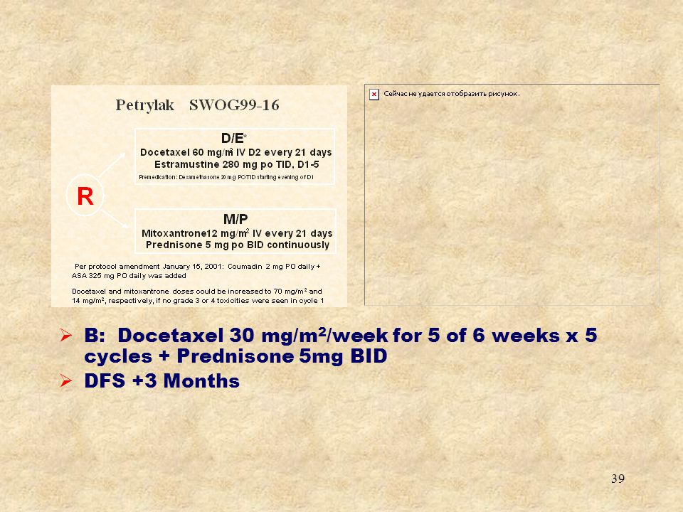 B: Docetaxel 30 mg/m2/week for 5 of 6 weeks x 5 cycles + Prednisone 5mg BID