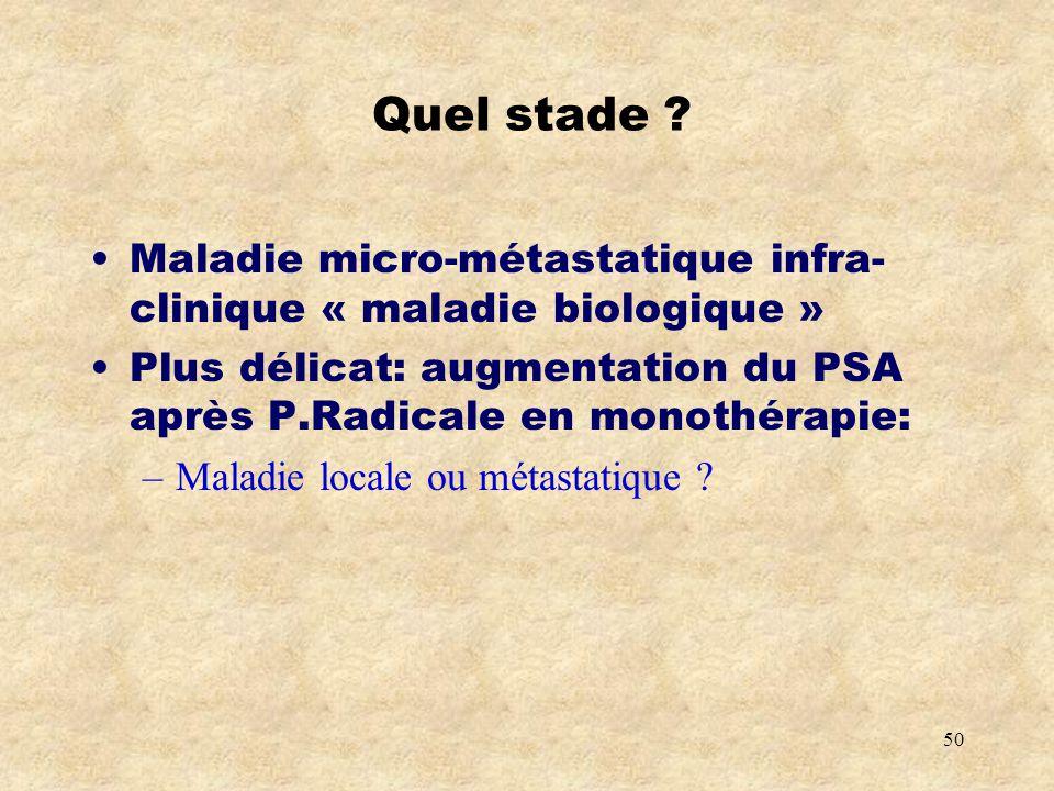 Quel stade Maladie micro-métastatique infra-clinique « maladie biologique » Plus délicat: augmentation du PSA après P.Radicale en monothérapie: