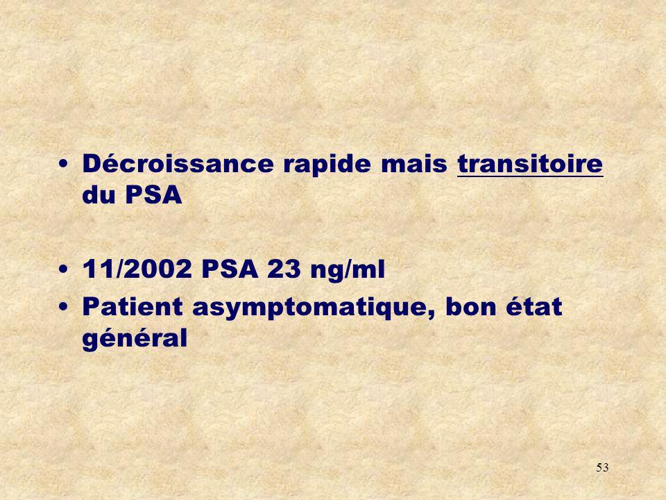 Décroissance rapide mais transitoire du PSA