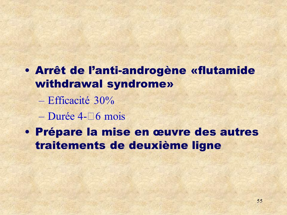 Arrêt de l'anti-androgène «flutamide withdrawal syndrome»