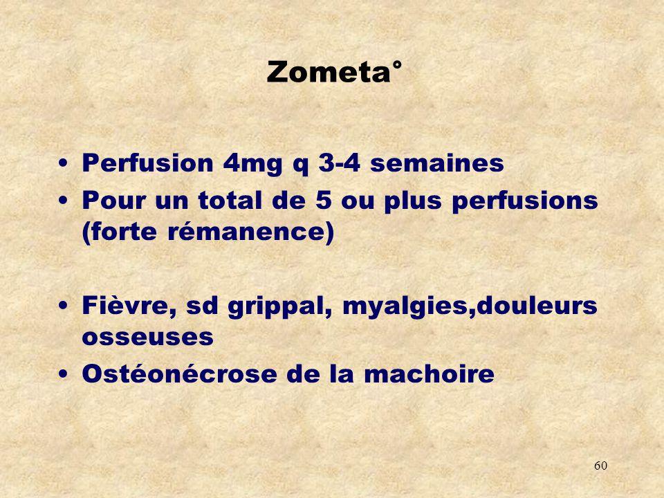 Zometa° Perfusion 4mg q 3-4 semaines