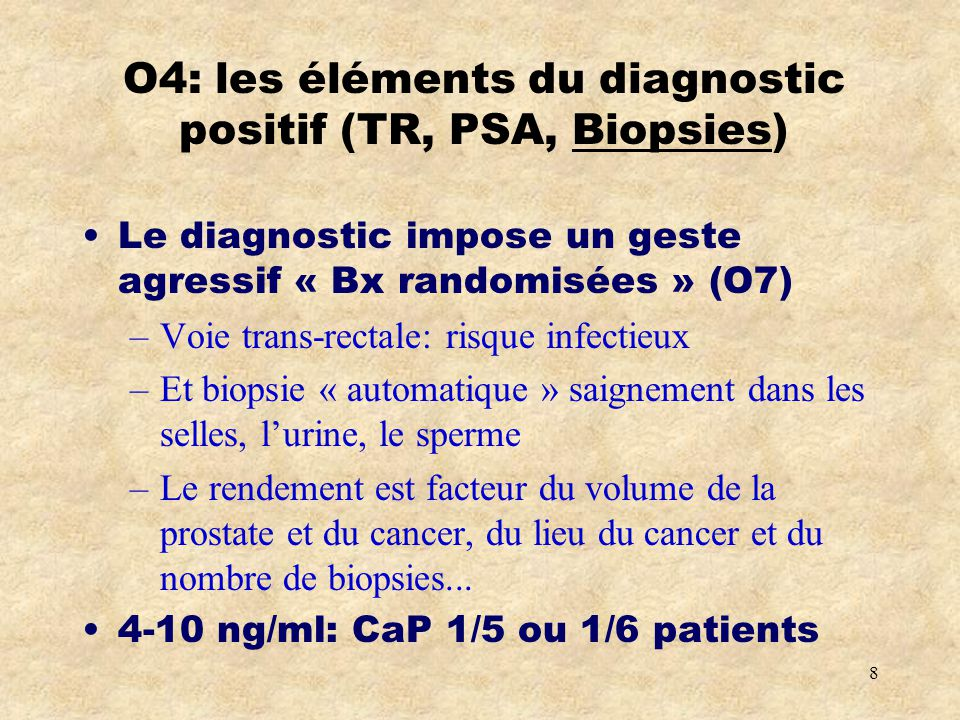 O4: les éléments du diagnostic positif (TR, PSA, Biopsies)