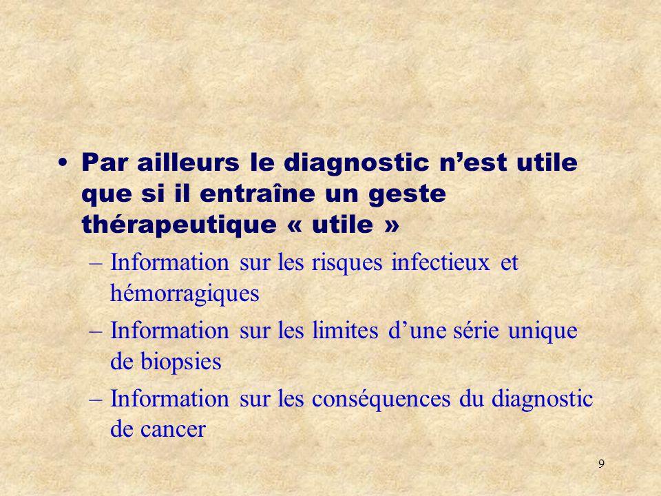 Par ailleurs le diagnostic n'est utile que si il entraîne un geste thérapeutique « utile »