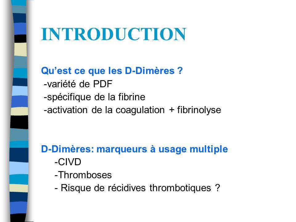 INTRODUCTION Qu'est ce que les D-Dimères -variété de PDF