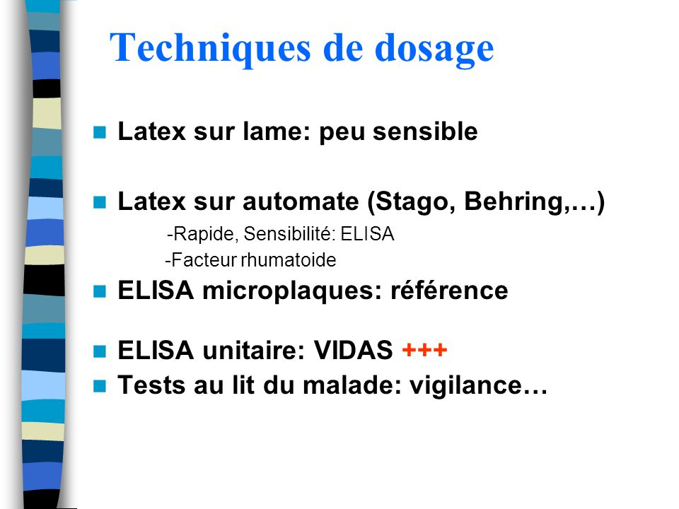 Techniques de dosage Latex sur lame: peu sensible