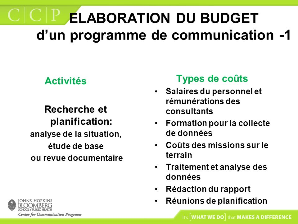 ELABORATION DU BUDGET d'un programme de communication -1