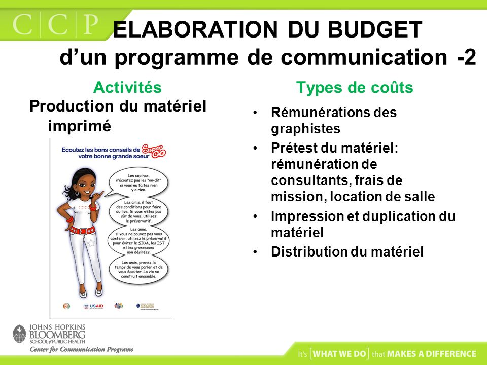 ELABORATION DU BUDGET d'un programme de communication -2