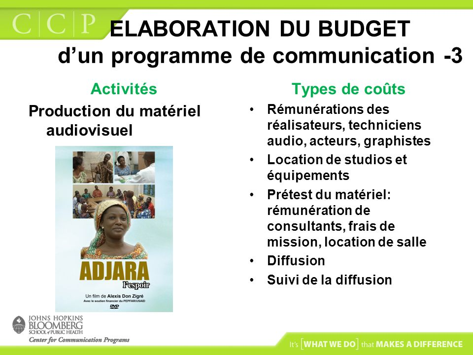 ELABORATION DU BUDGET d'un programme de communication -3