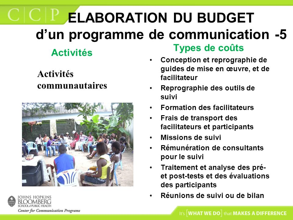 ELABORATION DU BUDGET d'un programme de communication -5