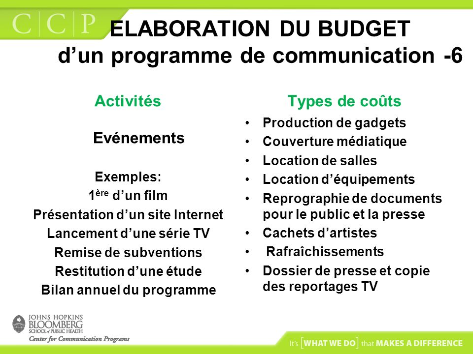 ELABORATION DU BUDGET d'un programme de communication -6