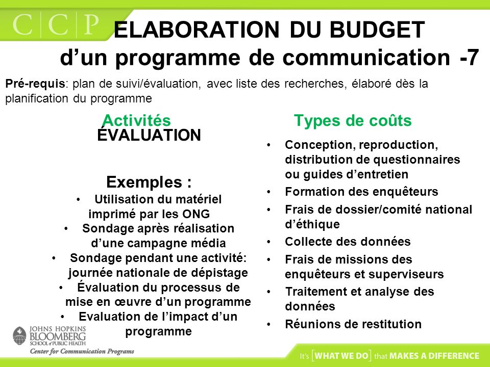 ELABORATION DU BUDGET d'un programme de communication -7