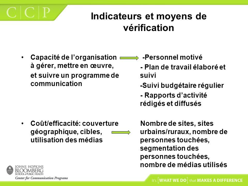 Indicateurs et moyens de vérification