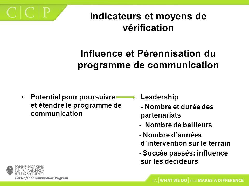 Indicateurs et moyens de vérification Influence et Pérennisation du programme de communication