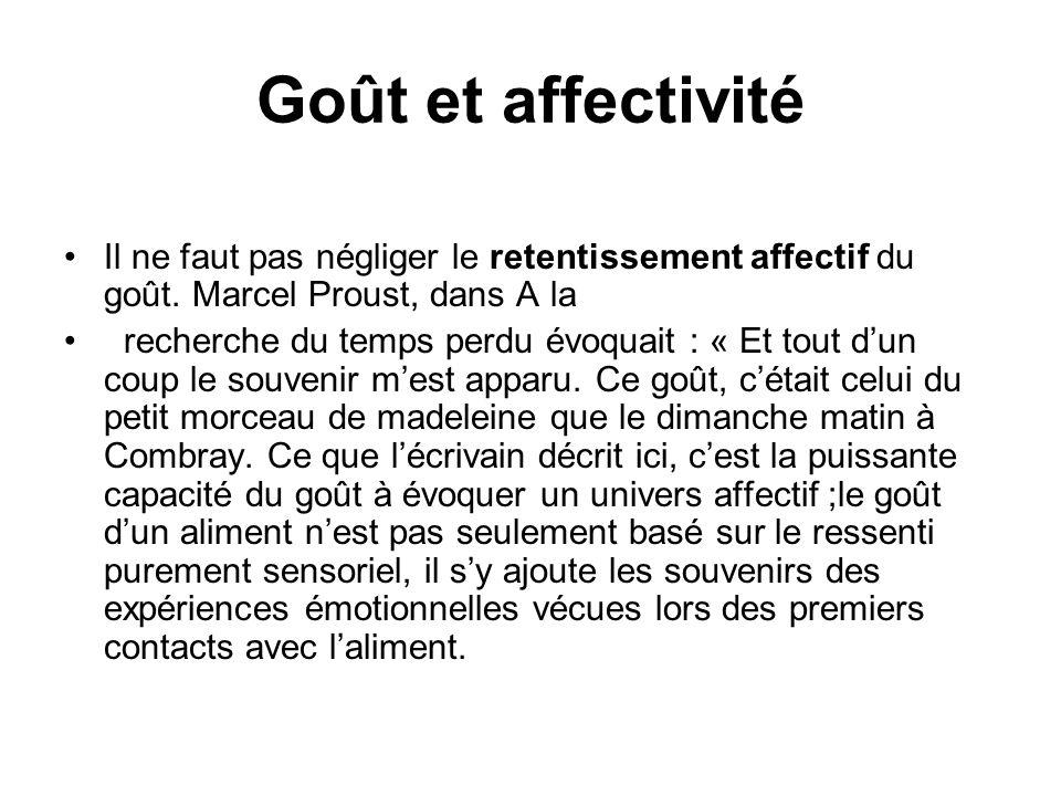 Goût et affectivité Il ne faut pas négliger le retentissement affectif du goût. Marcel Proust, dans A la.