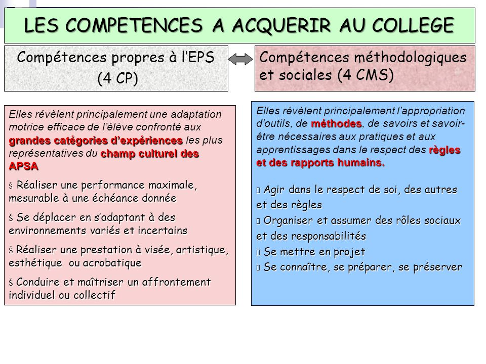 LES COMPETENCES A ACQUERIR AU COLLEGE