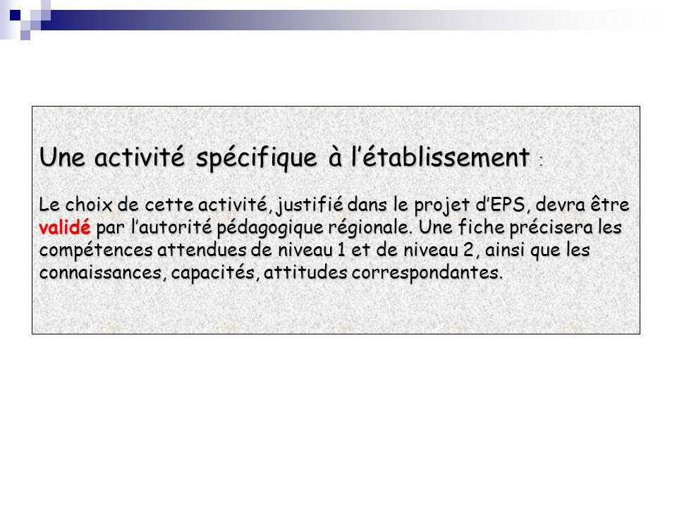 Une activité spécifique à l'établissement :