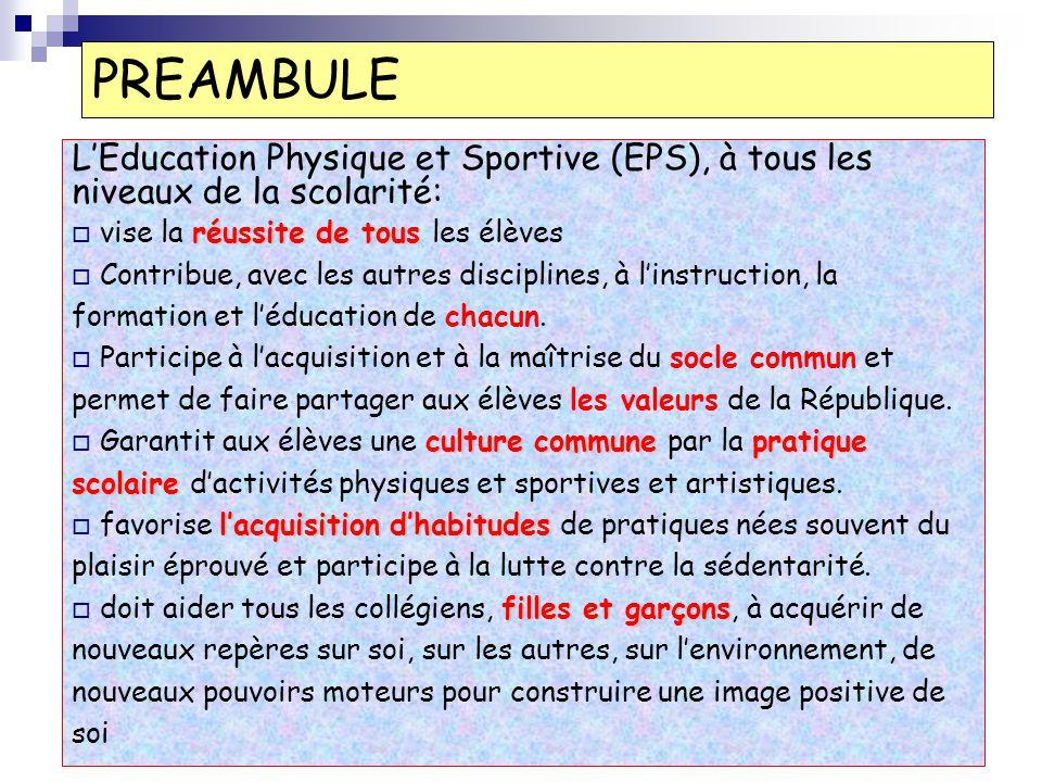 PREAMBULE L'Education Physique et Sportive (EPS), à tous les niveaux de la scolarité: vise la réussite de tous les élèves.